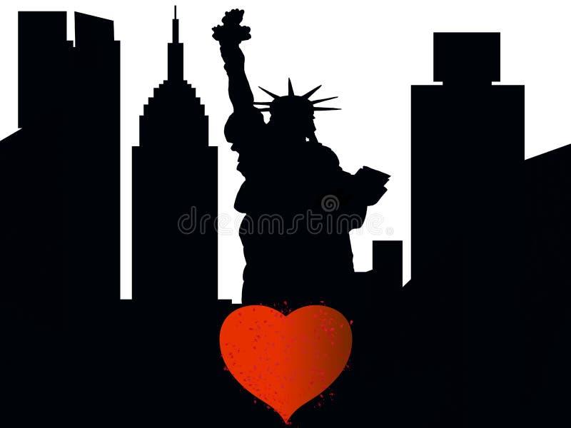 Silhueta de New York City com coração ilustração stock