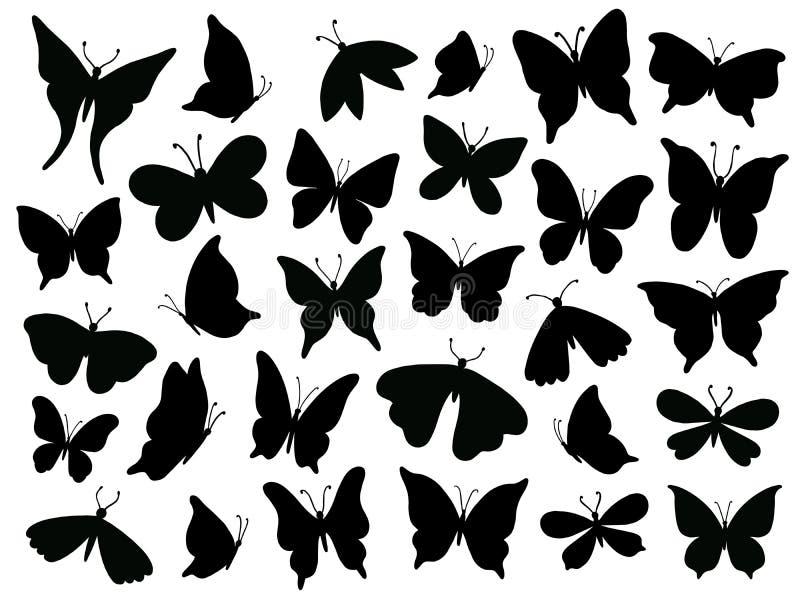 Silhueta de Papillon Asa da borboleta de Mariposa, silhuetas das asas da traça e vetor isolado borboletas da flor da mola ilustração stock