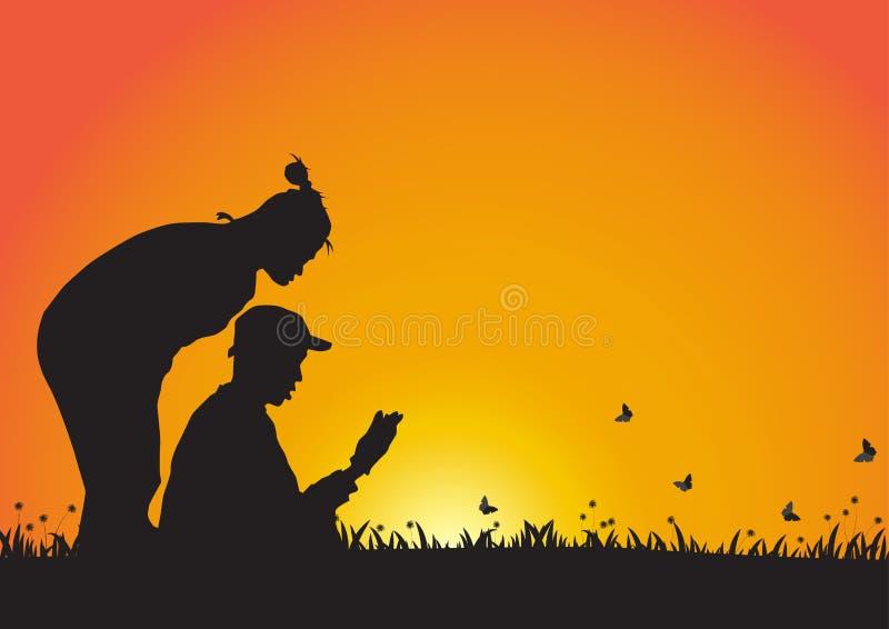 Silhueta de pares novos no fundo dourado do por do sol, vetor mim ilustração royalty free