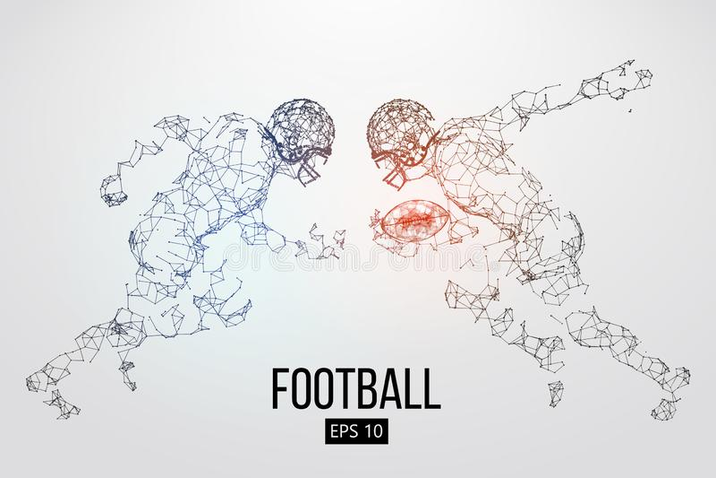 Silhueta de partículas, de linhas e de triângulos de um jogador de futebol americano no fundo rugby Ilustração do vetor ilustração stock
