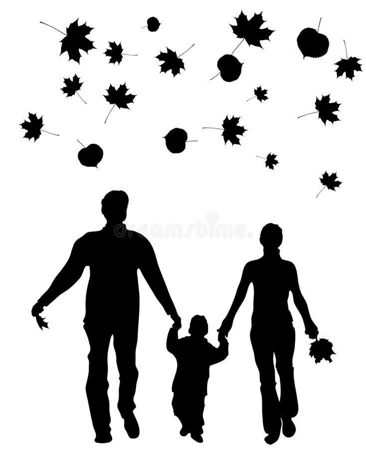 Silhueta de passeio da família ilustração do vetor