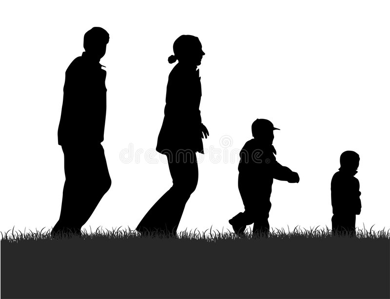 Silhueta de passeio da família ilustração royalty free