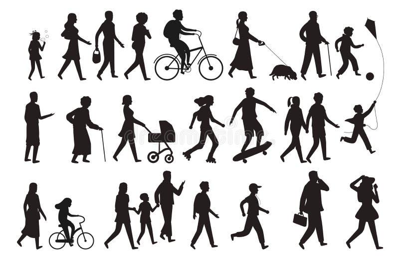 Silhueta de passeio das pessoas Grupo isolado família de passeio do preto do vetor da senhora e da criança da jovem mulher dos po ilustração do vetor