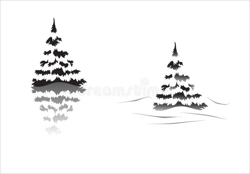 Silhueta de Pinetrees ilustração royalty free