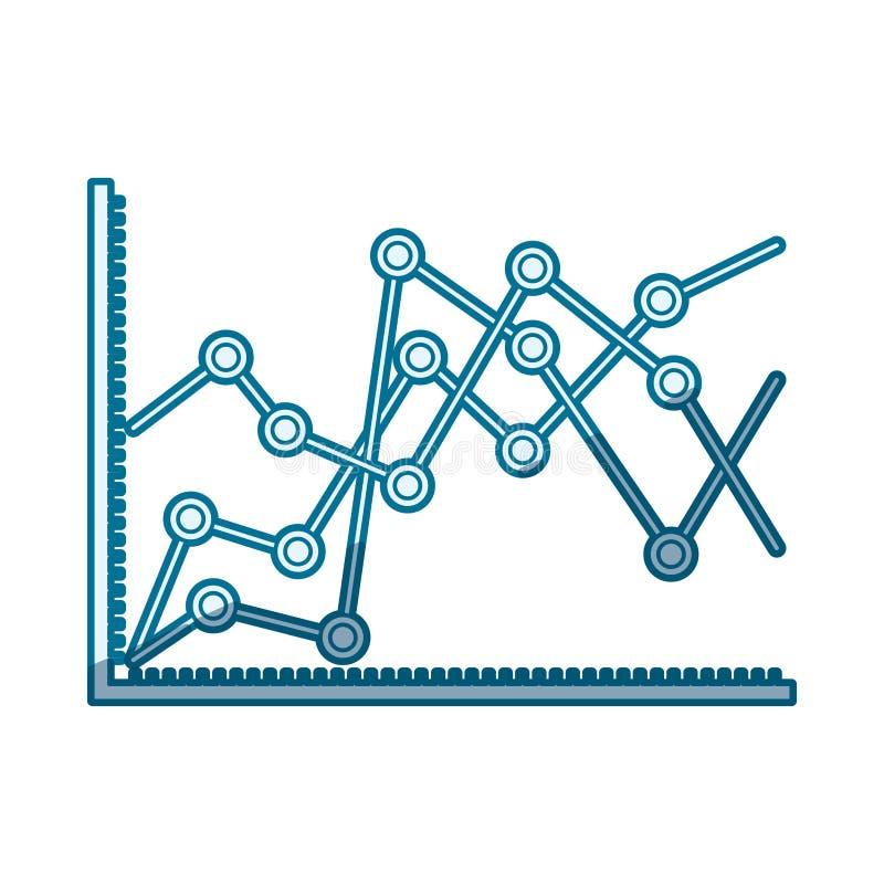 Silhueta de proteção azul da aumentação linear dos gráficos estatísticos ilustração royalty free
