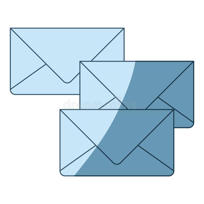 Silhueta de proteção azul dos envelopes do correio ilustração stock