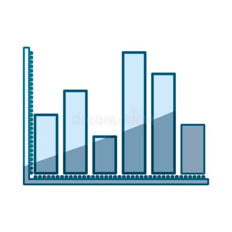 Silhueta de proteção azul de gráficos estatísticos com barras grossas ilustração do vetor