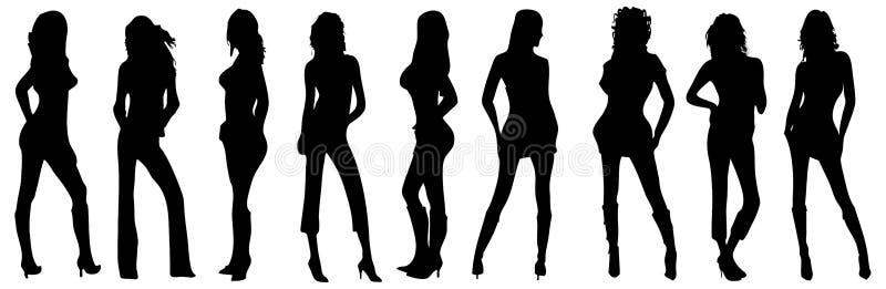 Silhueta de quatro meninas com ilustração royalty free