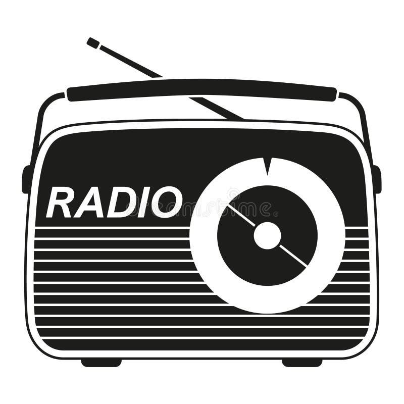 Silhueta de rádio retro preto e branco ilustração stock