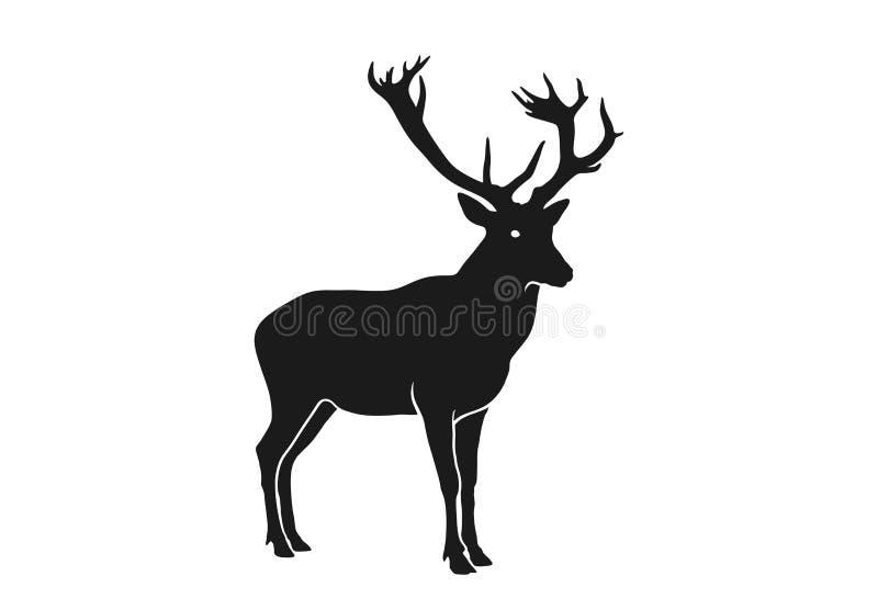 Silhueta de renas Elemento de projeto de Natal Ícone de Natal imagem de vetor isolada ilustração royalty free