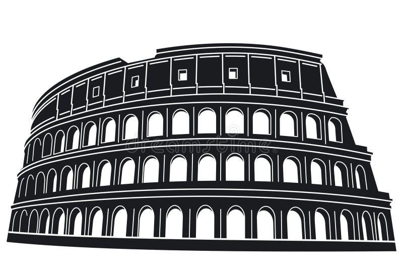 Silhueta de Roma Colosseum ilustração stock