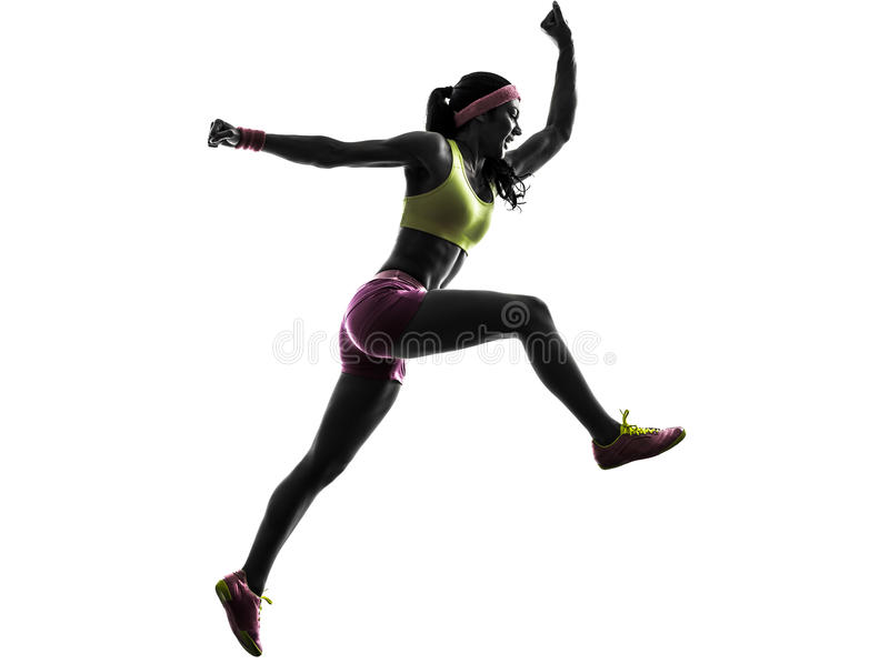 Silhueta de salto de corrida da gritaria do corredor da mulher fotos de stock royalty free