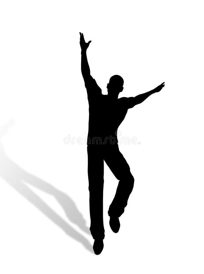 Silhueta de salto do homem ilustração stock