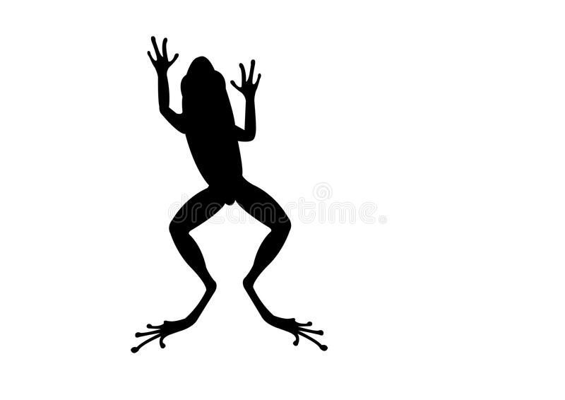 Silhueta de salto do preto da rã ilustração royalty free