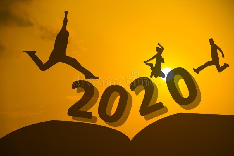 Silhueta de salto humano em 2020 anos imagens de stock royalty free