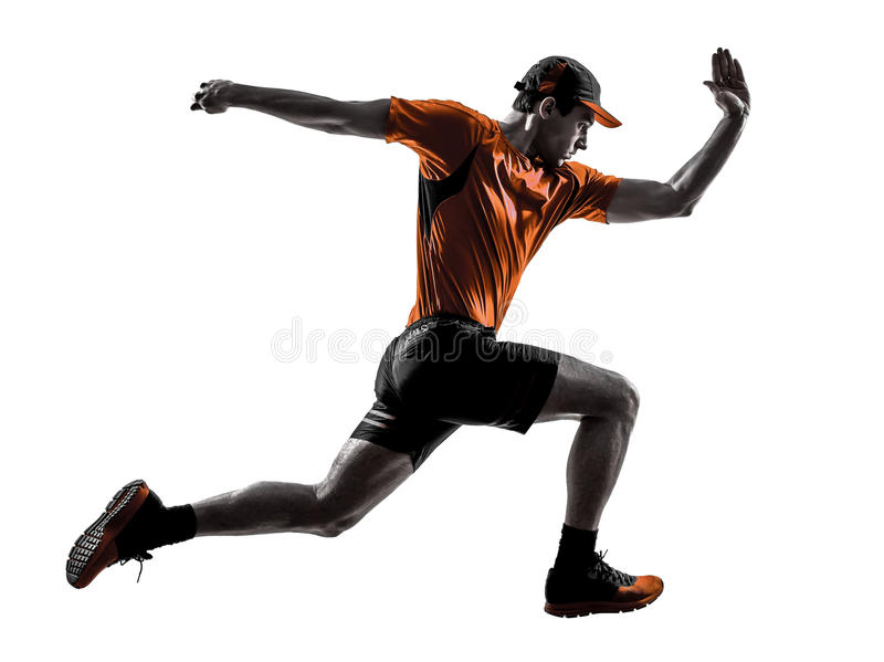Silhueta de salto movimentando-se de corrida do basculador do corredor do homem foto de stock royalty free