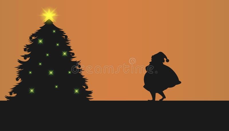 Silhueta de Santa bonito Silhueta da árvore de Natal Desenhos animados do vetor ilustração royalty free