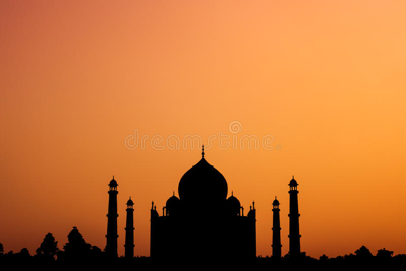 Silhueta de Taj Mahal foto de stock