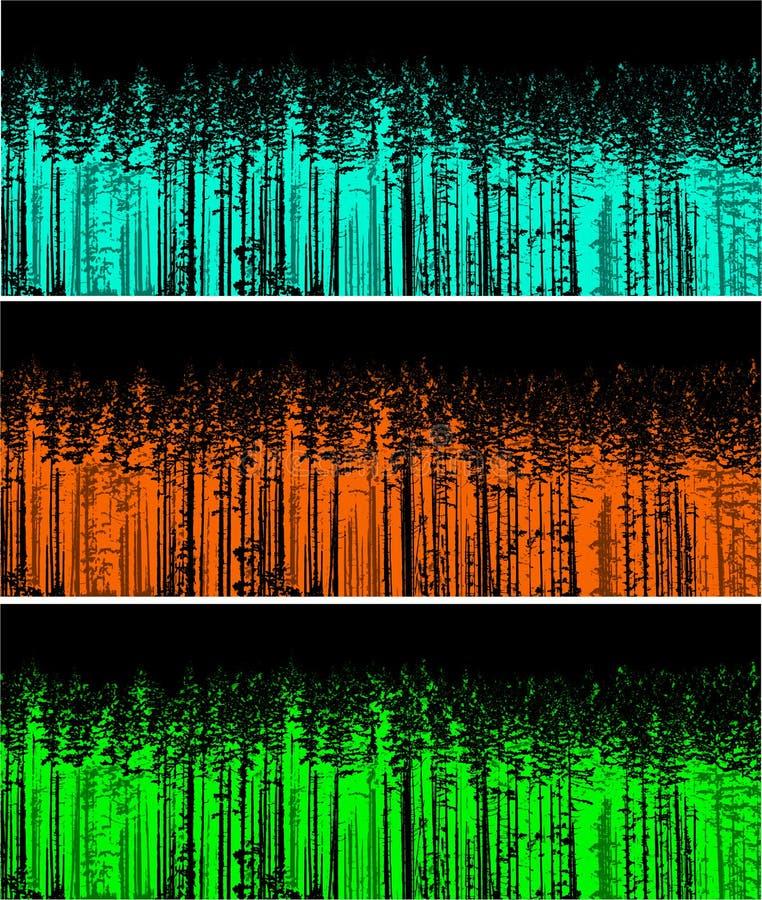 Silhueta de três árvores de floresta da cor imagens de stock