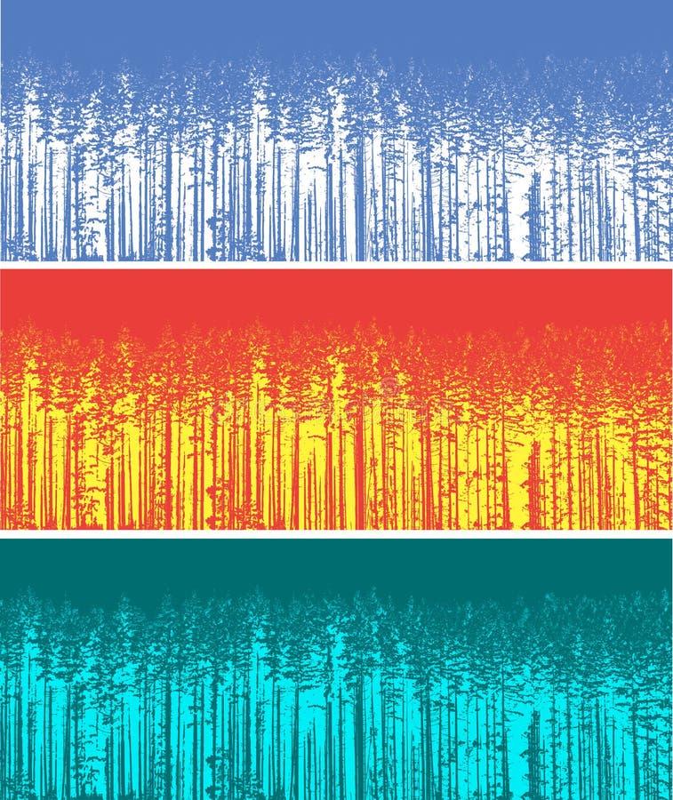 Silhueta de três árvores de floresta da cor fotos de stock