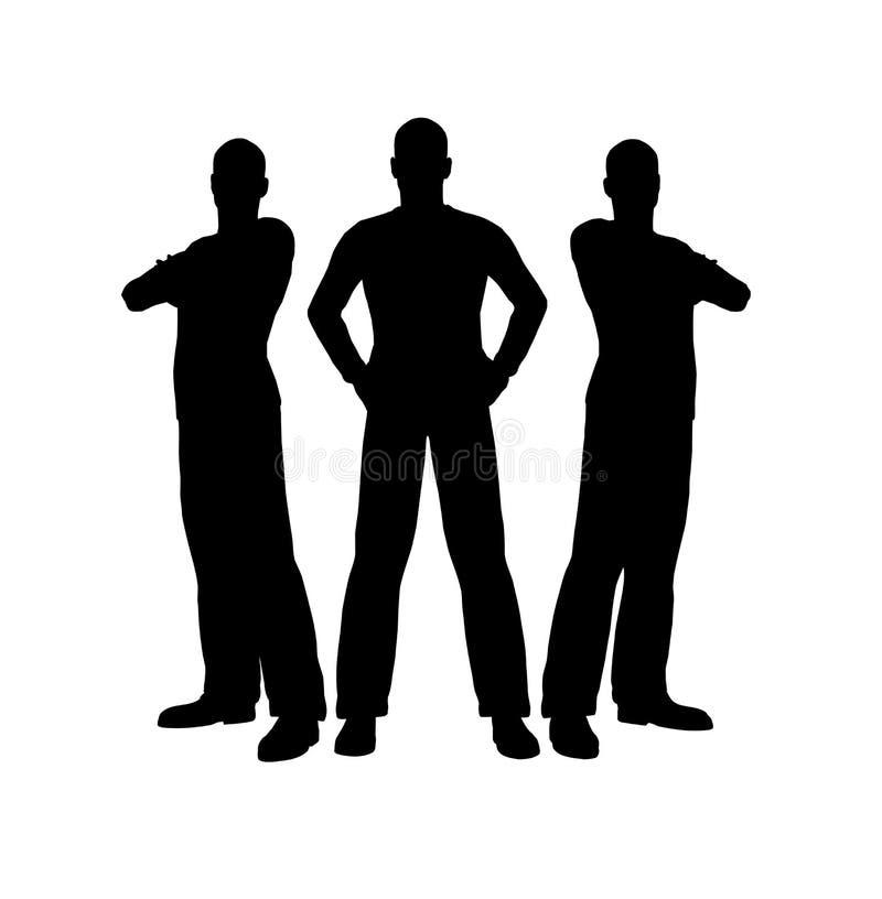 Silhueta de três homens ilustração do vetor