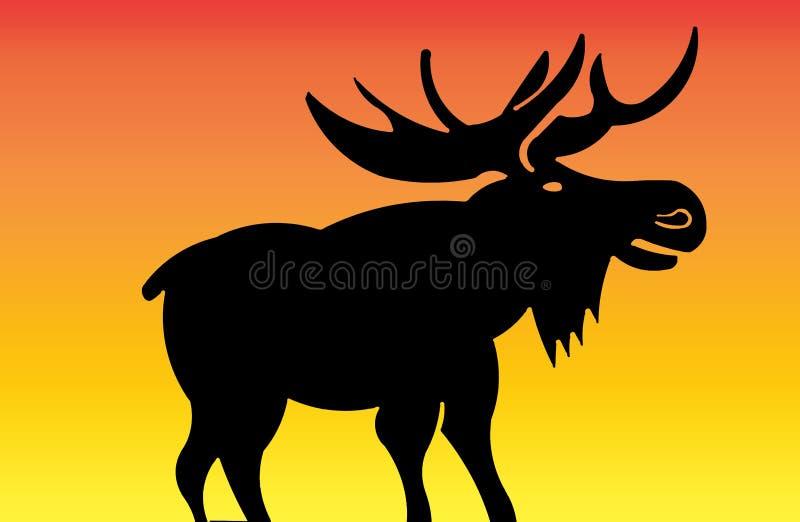 Silhueta de um alce no por do sol ilustração royalty free