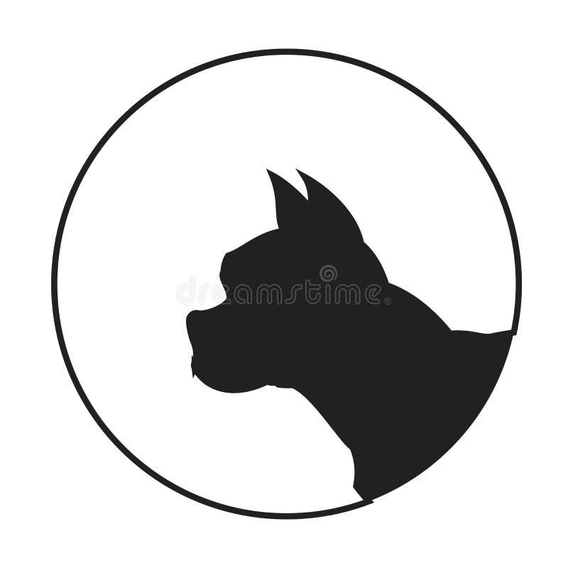 Silhueta de um buldogue francês de cabeça de cão ilustração royalty free
