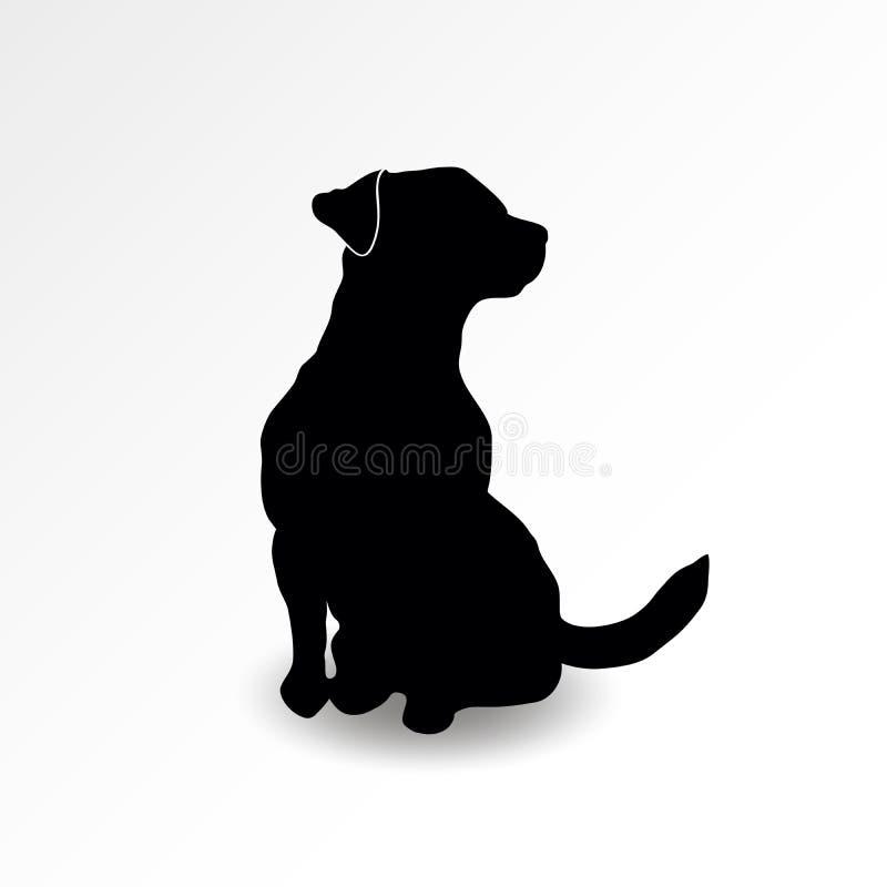 Silhueta de um cão de assento que olha acima no lado direito Terrier de Jack russell que aspira o ar Ilustração do vetor ilustração stock