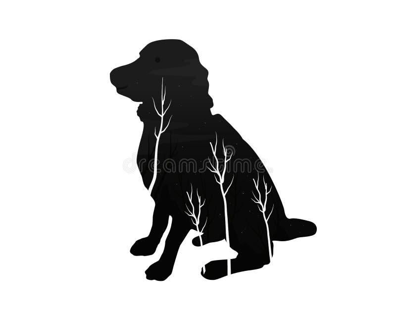 Silhueta de um cão com floresta do pinho ilustração do vetor