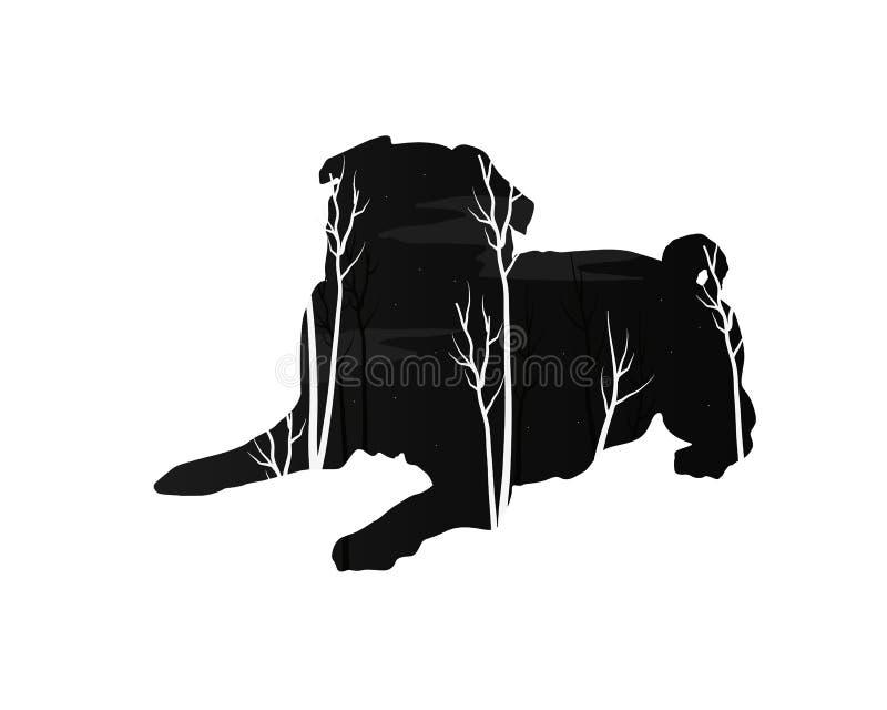 Silhueta de um cão com floresta do pinho ilustração stock