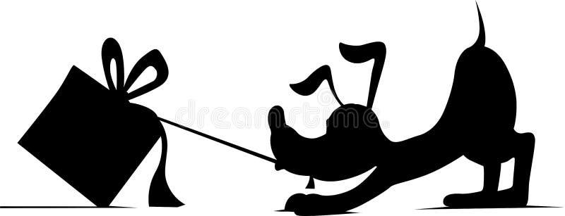 Download Silhueta De Um Cão Que Levanta Atrás Do Presente - Vetor Ilustração do Vetor - Ilustração de aniversário, donation: 80101401