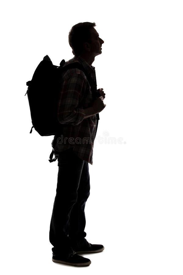 Silhueta de um caminhante ou de um guia tur?stica masculino imagens de stock royalty free