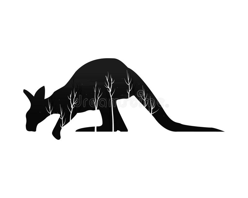 Silhueta de um canguru com floresta do pinho ilustração royalty free