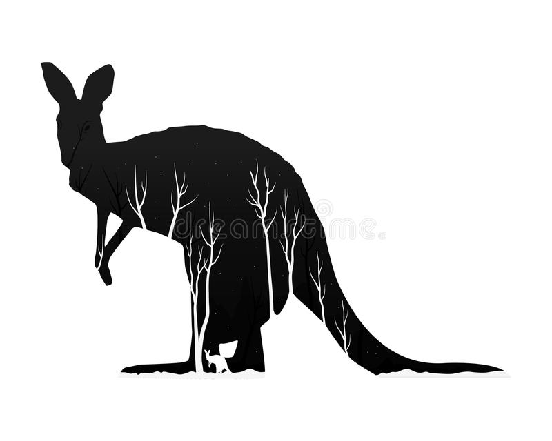 Silhueta de um canguru com floresta do pinho ilustração stock
