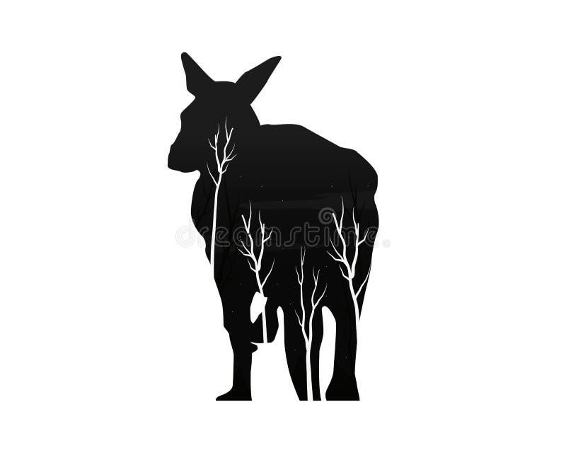 Silhueta de um canguru com floresta do pinho ilustração do vetor