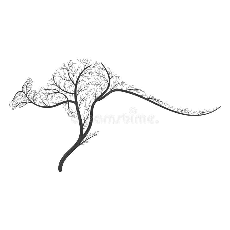 A silhueta de um canguru estilizou arbustos para o uso como logotipos no Ca ilustração stock