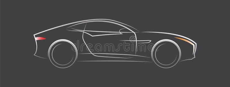Silhueta de um carro desportivo em um fundo preto ilustração stock