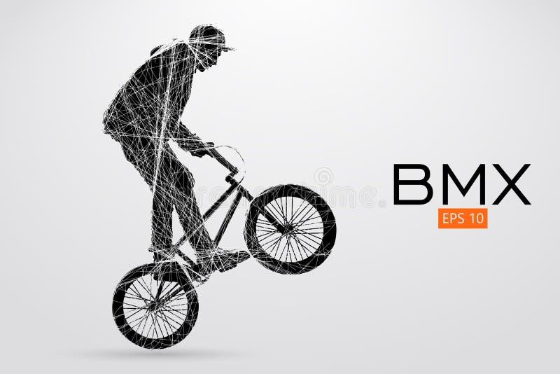 Silhueta de um cavaleiro de BMX Ilustração do vetor