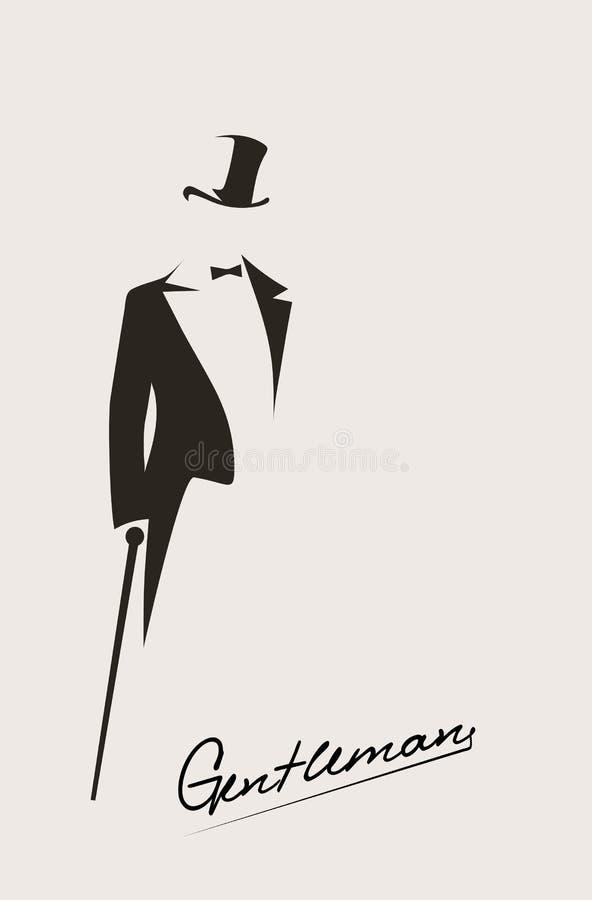 Silhueta de um cavalheiro em um smoking ilustração stock