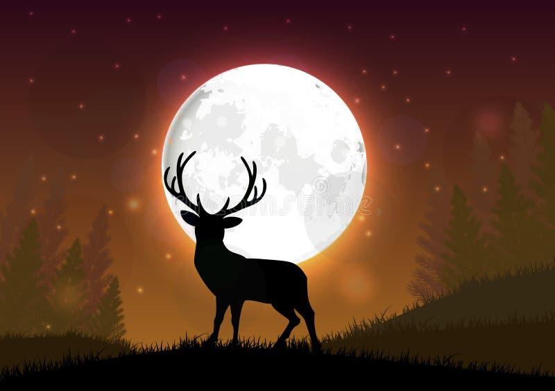 Silhueta de um cervo que está em um monte na noite ilustração royalty free