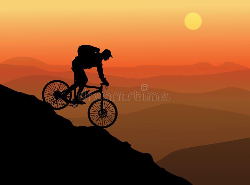 Silhueta de um ciclista ilustração stock