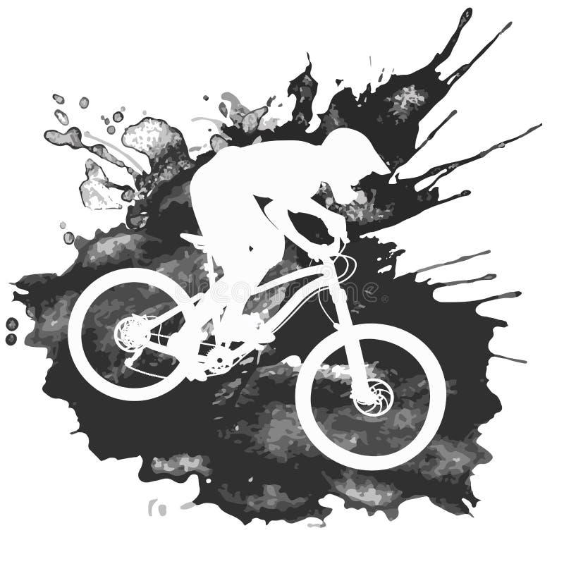 Silhueta de um ciclista que monta um Mountain bike ilustração royalty free
