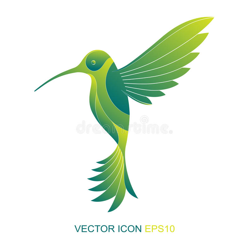 Silhueta de um colibri logo Um ícone liso Ilustração do vetor Um tipo do pássaro com um lado ilustração royalty free