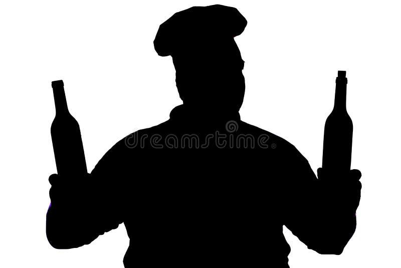 silhueta de um cozinheiro chefe feliz em um fundo isolado branco, perfil de uma cara masculina em um chapéu do cozinheiro, concei imagens de stock