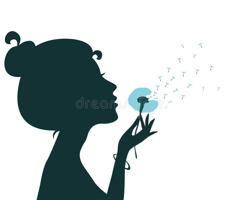 Silhueta de um dente-de-leão de sopro da moça ilustração do vetor