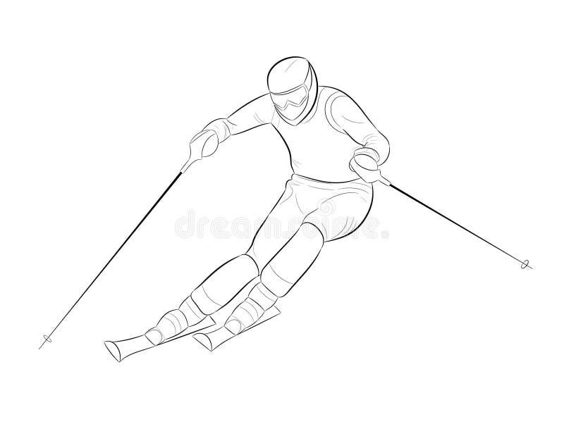 Silhueta de um esquiador ilustração royalty free