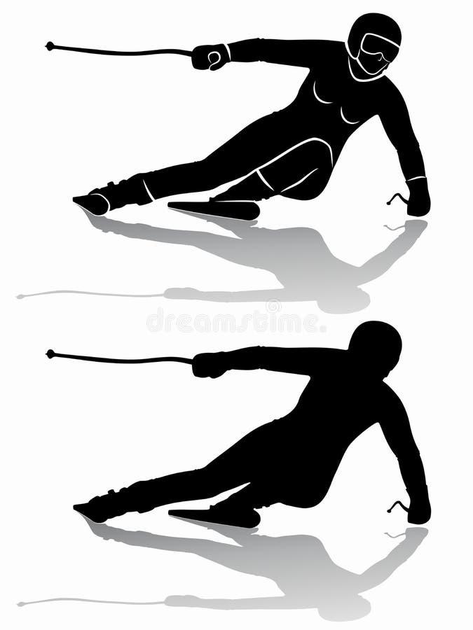 Silhueta de um esquiador, tração do vetor ilustração do vetor