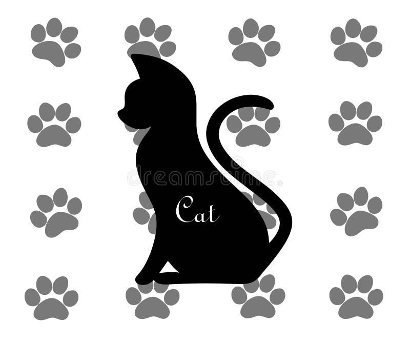 Silhueta de um gato no fundo de cópias da pata ilustração royalty free