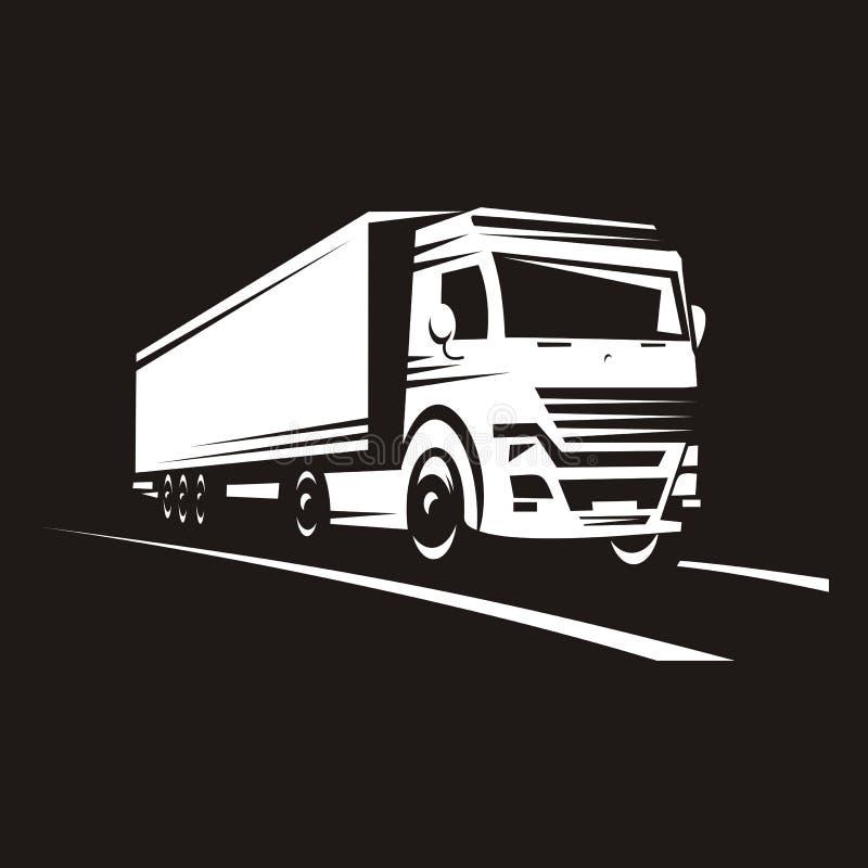 Silhueta de um grande caminhão que viaja ao longo da estrada fotos de stock royalty free