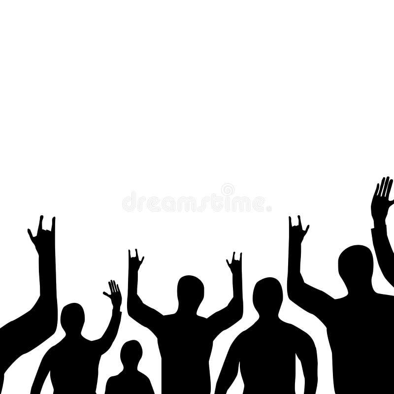 Silhueta de um grupo de pessoas em um evento do entretenimento Fundo quadrado Ilustra??o do vetor ilustração stock